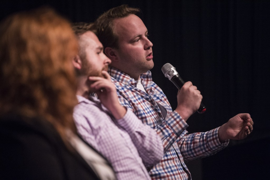 """Rep. Matt Moonen, D-Portland and director of Equality Maine, speaks during a panel discussion Tuesday after a screening of the film """"The Miseducation of Cameron Post"""" at the Maine International Film Festival in Waterville. The film addresses conversion therapy, a practice that attempts to change a person's sexual orientation or gender identity."""