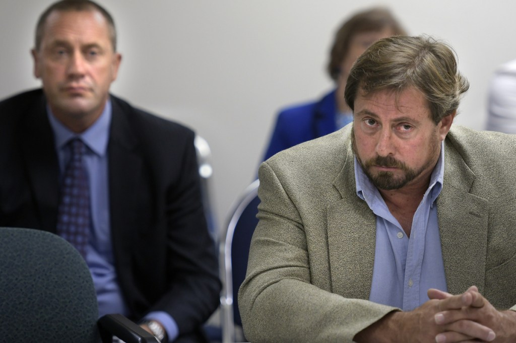Mark André, right, argued for a release of Clean Election funds to finance his run as the Republican candidate for the House of Representatives in House District 110 representing Oakland and part of Waterville. Josh Tardy, left, an attorney for Senate Republicans, said he thought the commission could make the money available.