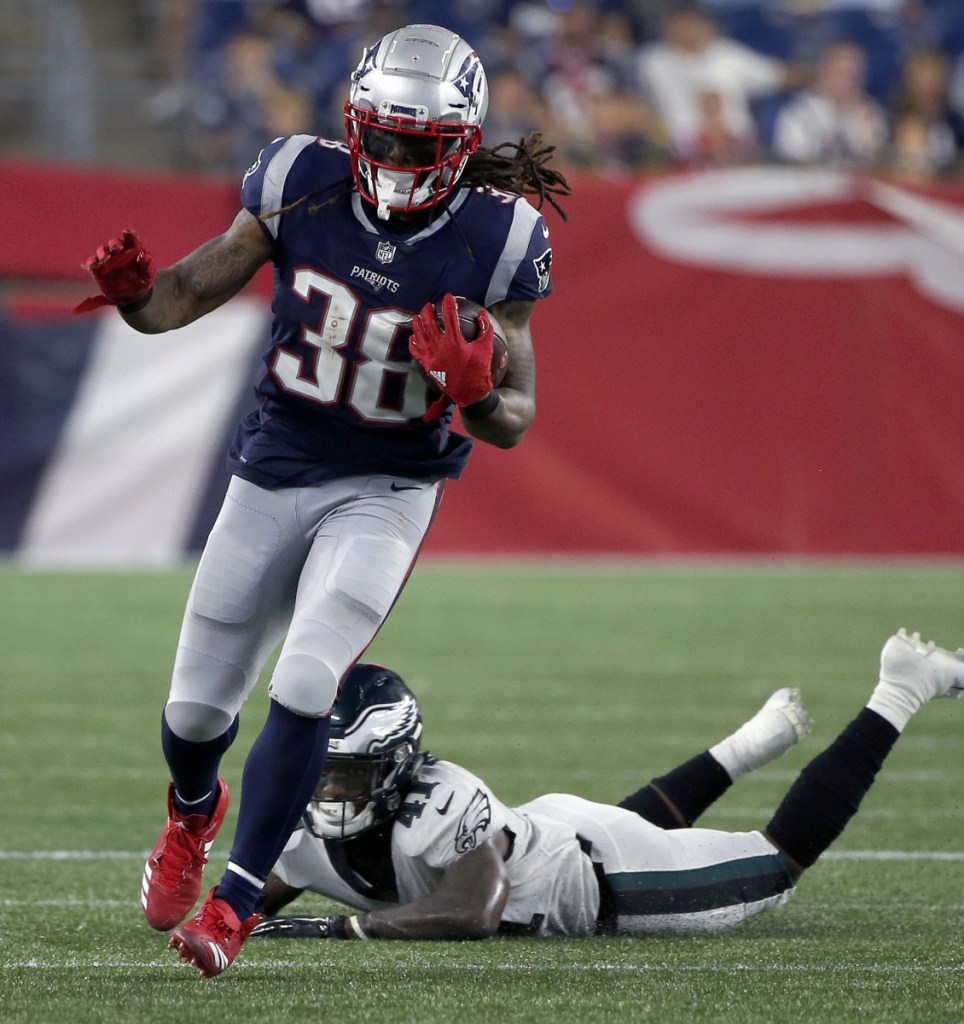 Brandon Bolden, left, has gotten some carries in the preseason but it's his contributions on special teams that have made him a Patriots mainstay.