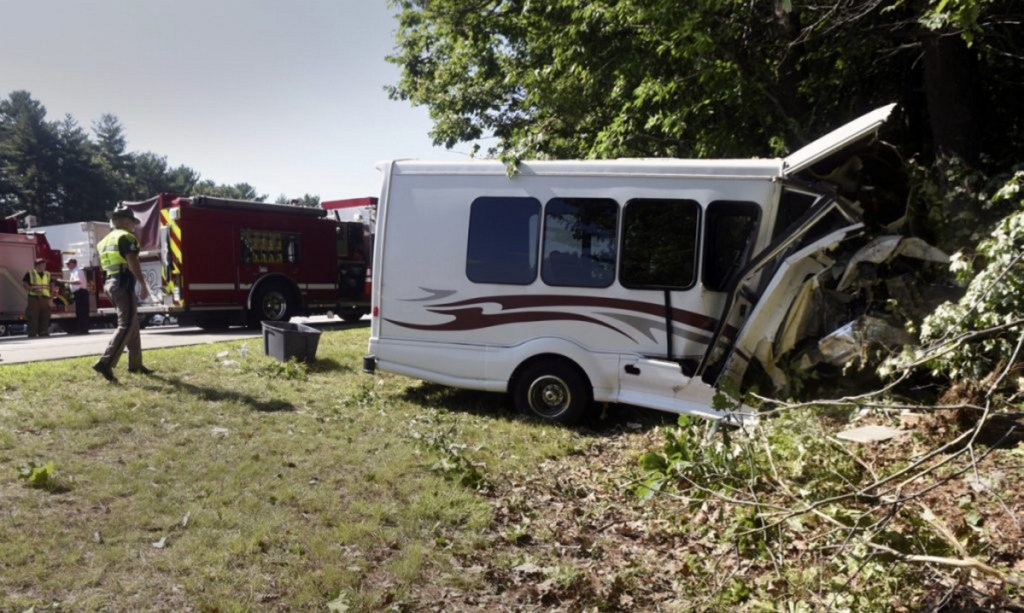 New Hampshire State Police investigate the Aug. 10 crash of a town of Kittery van on Interstate 95 in Greenland. Officials said the driver suffered a medical emergency before the accident.
