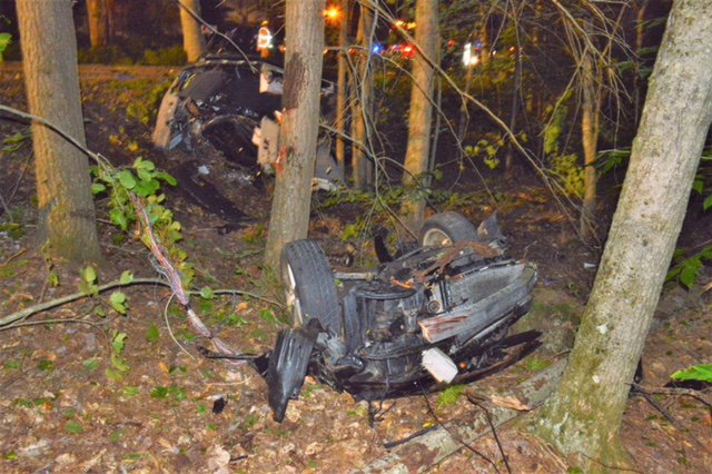 A car driven by Warren Kimball left Campbell Shore Road in Gray and crashed into some trees Friday night.