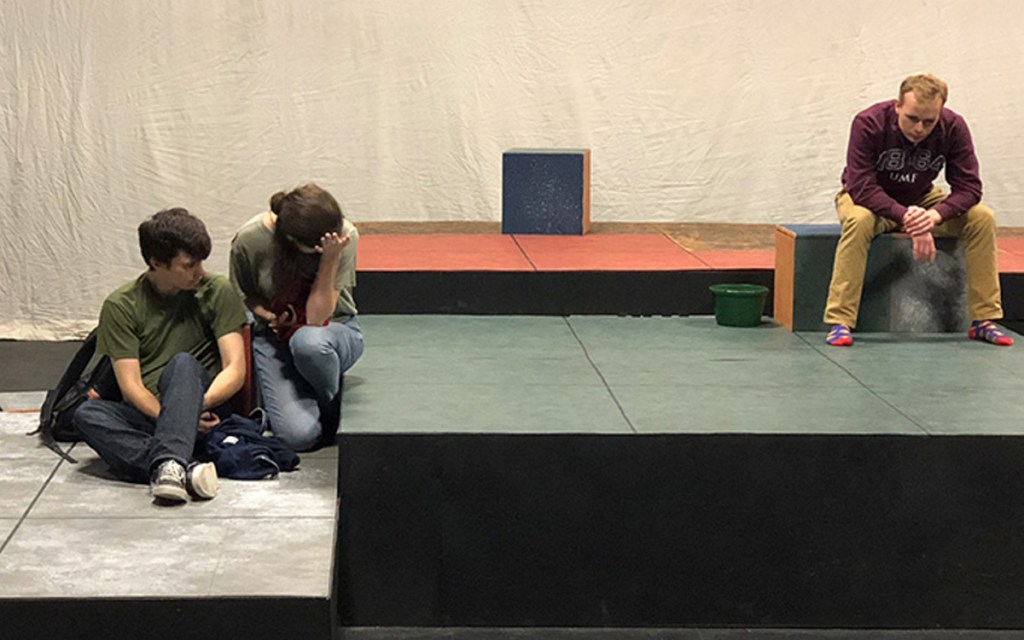 """Theatre UMF students in fall production of """"The Curious Incident of the Dog in the Night-time."""""""
