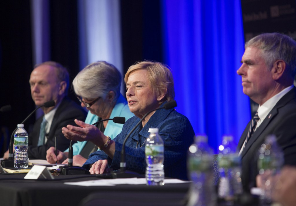 Democratic candidate Janet Mills answers a question during the debate held at the University of New England in Portland on Wednesday, Oct. 10.