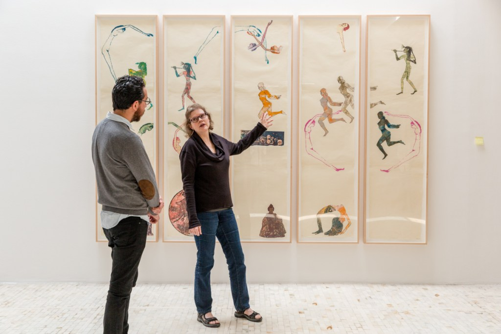 Julie Ault, right, at the Museum Tamayo, in Mexico City on Sept. 20.