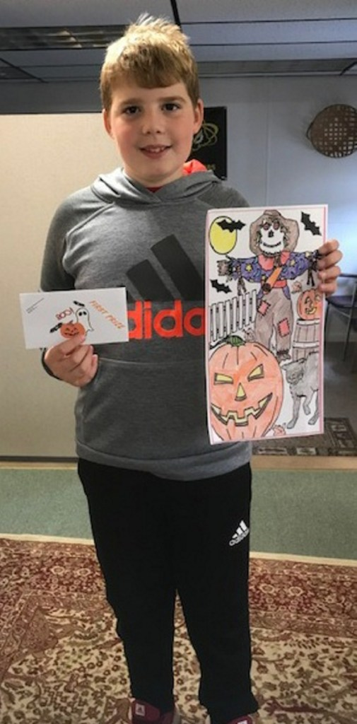 Anthony DiGiovanni, of Chelmsford, Massachusetts, placed first for children 9-12 years old category of the Friends of the Belgrade Public Library's annual coloring contest.