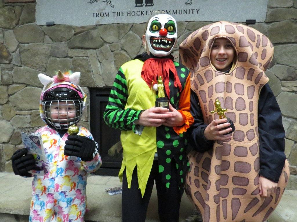 The youth division, 3-15 years old, winners from left were Kelsey Glynn, 6, of Augusta, Most Creative Costume; Erin Kelley, 13, of Brunswick, Scariest Costume; and Alex Arnold, 13, of Brunswick, Funniest Costume.