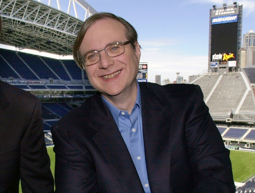 Paul Allen, who also owned the Seattle Seahawks, appears in a suite in the team's stadium in Seattle in 2001. Allen, billionaire owner of the Trail Blazers and the Seattle Seahawks and Microsoft co-founder, died Monday at age 65.