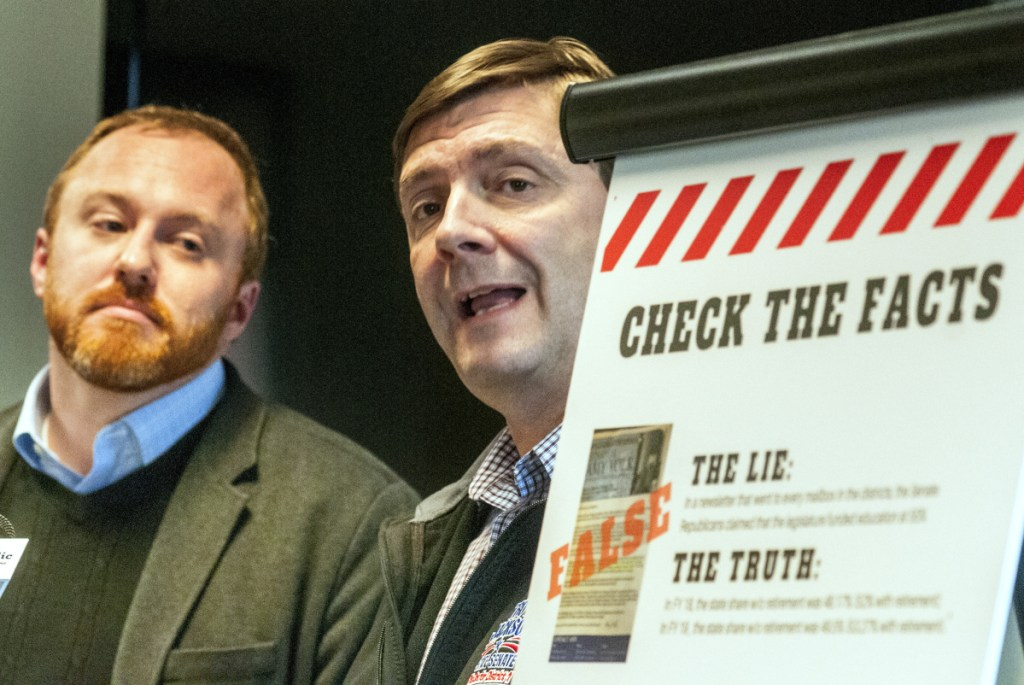 Sens. Nate Libby, D-Lewiston, left, and Troy Jackson, D-Allagash, hold a news conference to complain about what they said were lies in campaign fliers.