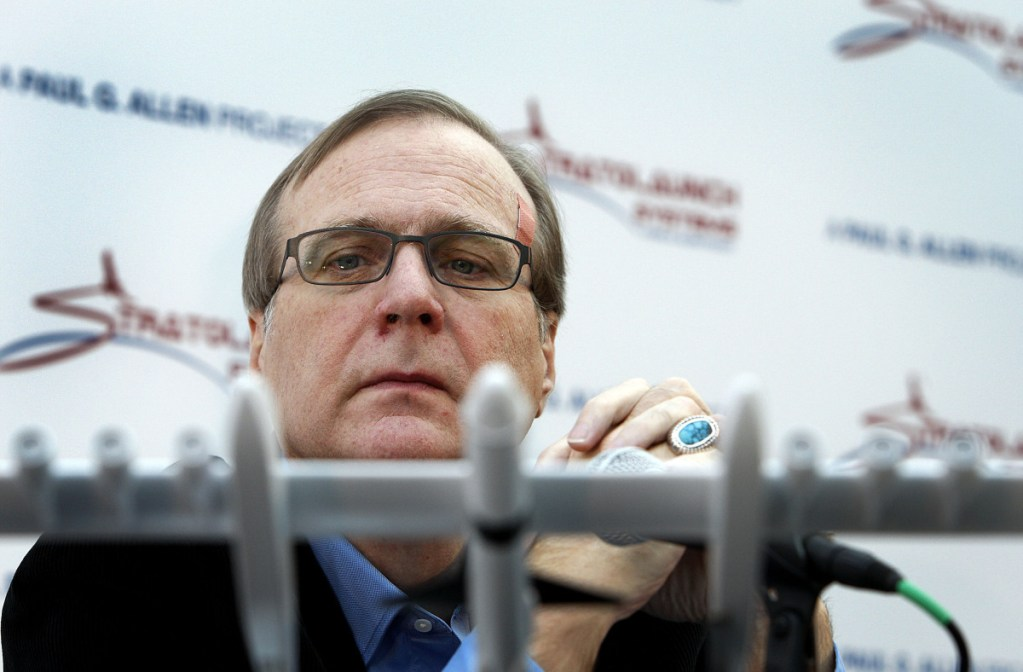 One venture of the late Paul Allen, shown in 2011, involved Stratolaunch, which is building a twin-fuselage jet aircraft designed to launch satellites from high altitudes but has yet to make a flight.