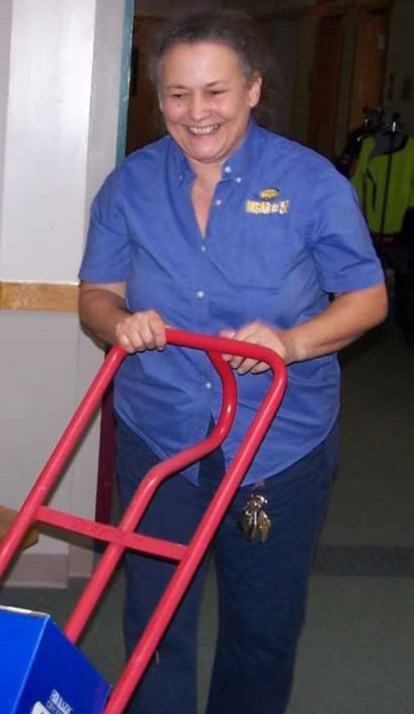 Tina Bilodeau, custodian, brings in the much-needed school supplies.