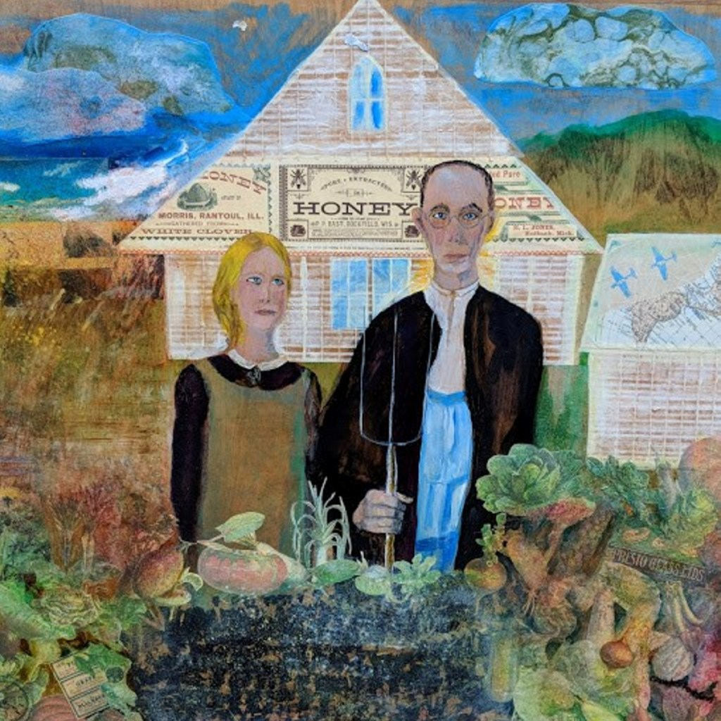"""#American Gothic,"" by Colette Shumate Smith, mixed media on wood panel."