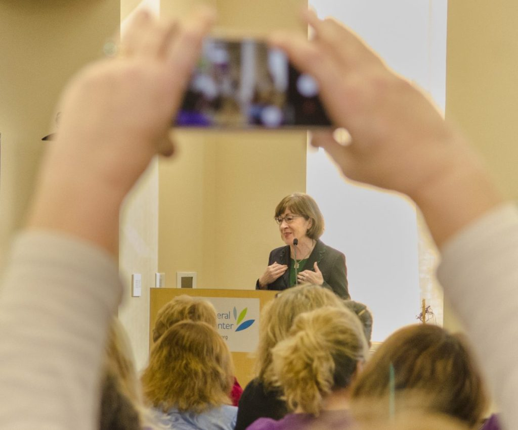 U.S. Sen. Susan Collins, R-Maine, speaks to home care and hospice workers Wednesday at MaineGeneral Medical Center's Alfond Center for Health in Augusta.