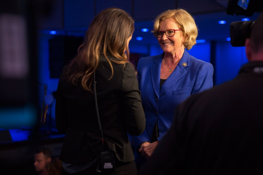 U.S. Rep. Chellie Pingree speaks with a news reporter at the Maine Democrats' election night party for gubernatorial candidate Janet Mills and Pingree at Aura in Portland on Tuesday.