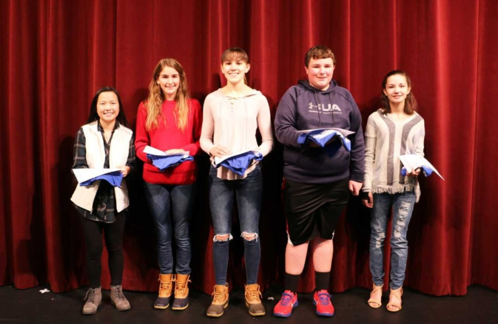 Messalonskee High School November Students of the Month from left are Alysan Rancourt, Sarah Kohl, Lauren Bourque, Kasen Sirois and Dynah Zimba.