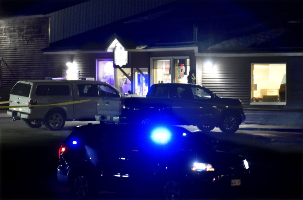 A state trooper is posted outside the Bear's One Stop store in Newport after a shooting Wednesday evening.