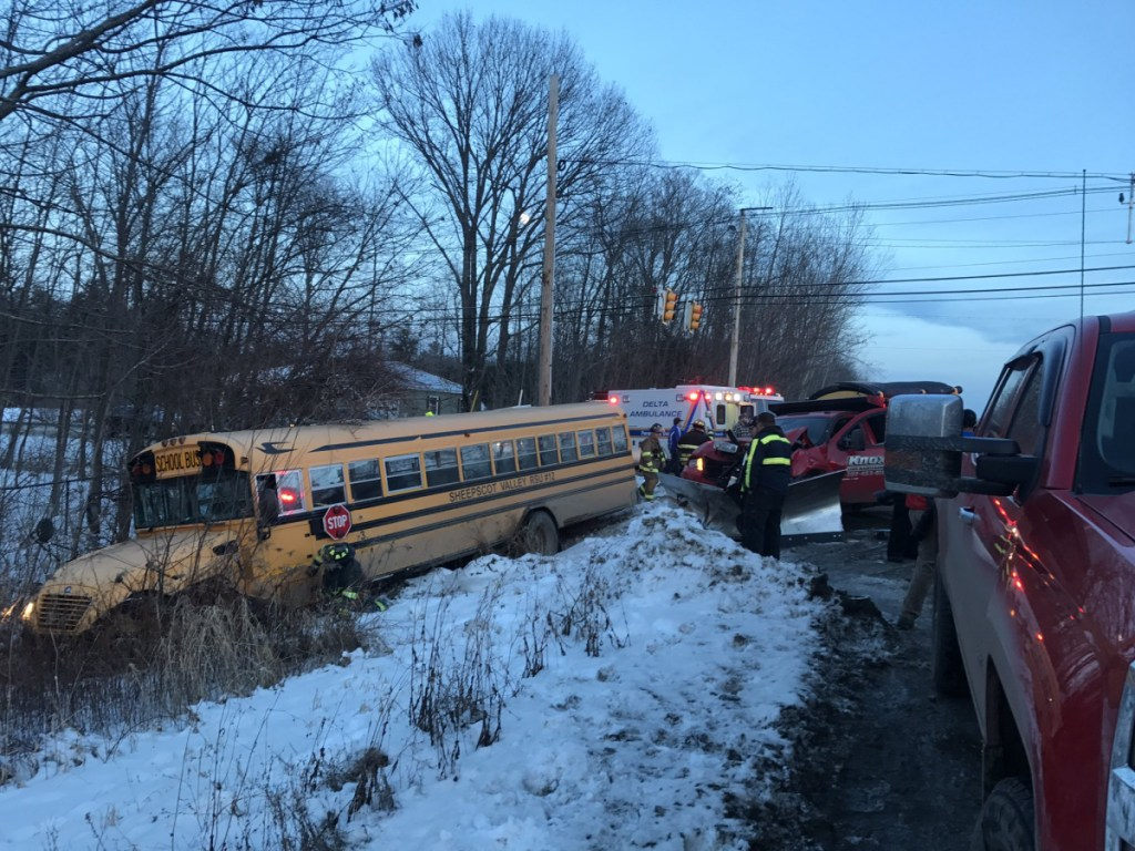 The Winslow Fire Department reported there were only minor injuries in this accident involving a school bus with children aboard at the intersection of routes 32 and 137 in Winslow.