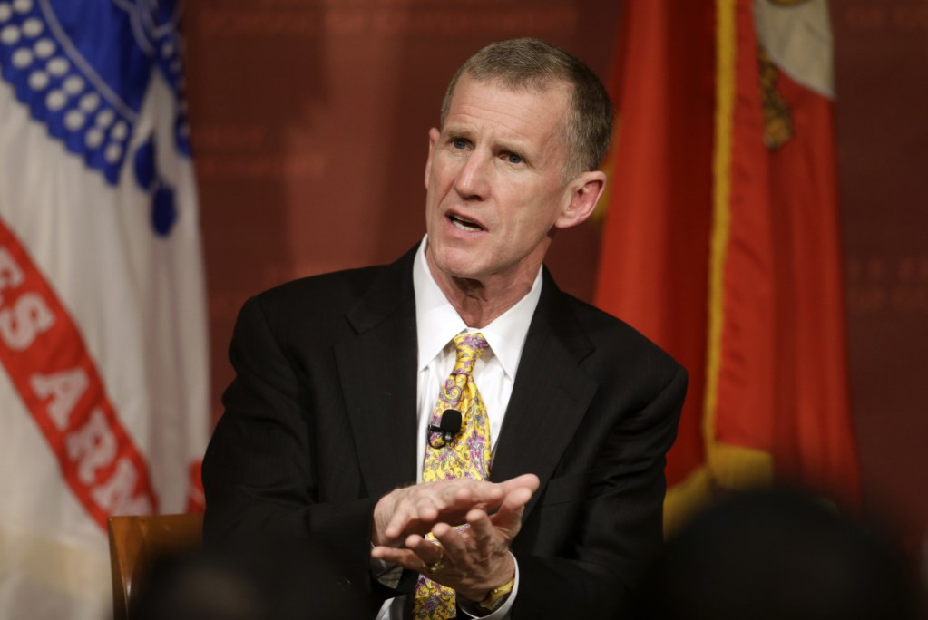 """Retired Army Gen. Stanley McChrystal says that withdrawing up to half the 14,000 U.S. troops in Afghanistan reduces the incentive for the Taliban to negotiate a peace deal after more than 17 years of war. """"I don't believe ISIS is defeated,"""" he said."""