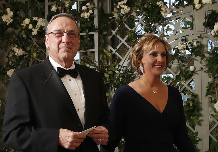 Gov. Paul LePage and Lauren LePage arrive for a state dinner with French President Emmanuel Macron and President Trump at the White House on April 24.