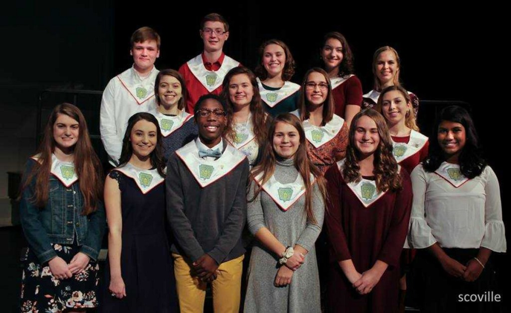 Cony High School chapter of the National Honor Society recently inducted its new members. In front, from left, are Erin Wathen, Katherine Boston, Simon McCormick, Faith Leathers-Pouliot, Caroline Mosca and Jospehine Nutakki. In the middle row, from left, are Sydney Avery, Julia White, Sarah Cook-Wheeler and Lindy Ouellette. In back, from left, are Ian Harden, Alexander Stewart, Emma Levesque, Meredith Lewis and Mallory Turgeon. Cecilia Guadalupi is missing from the photo.