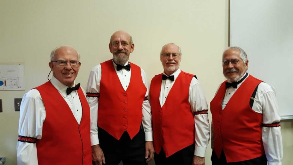 Members of a Singing Valentines barbershop quartet from left are Al Sargent (tenor), Bobby Norwood (lead), Ray Robitaille (bass), and Juan Lavalle-Rivera (baritone).
