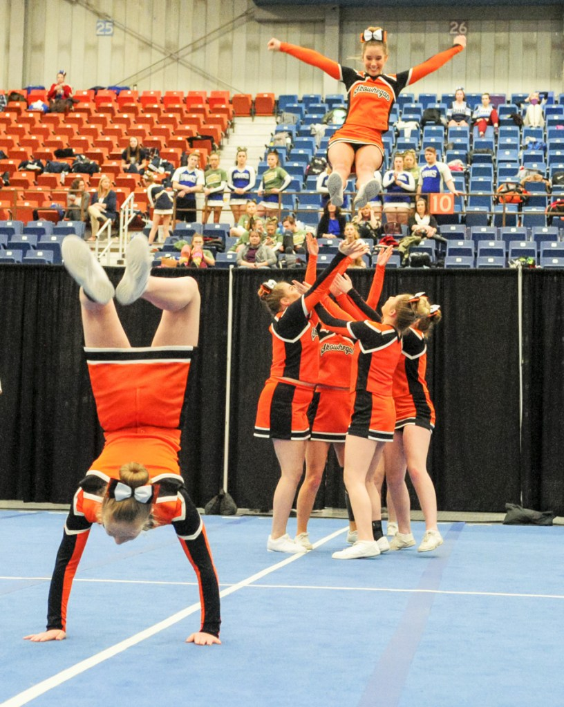 Kennebec Journal photo by Joe Phelan   Skowhegan competes during the Class A North regional cheering competition Saturday at the Augusta Civic Center.