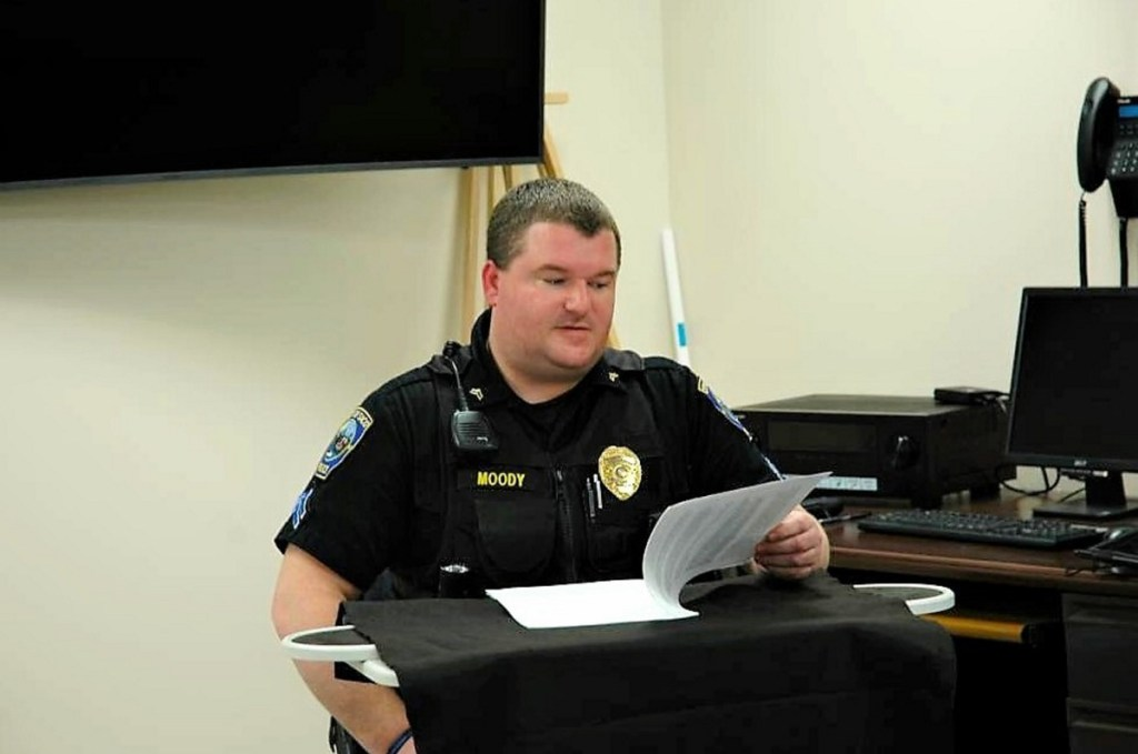 Cpl. Kyle Moody testifies in a mock trial at the Saco police station in April 2017. Students of the Citizen Police Academy also will go to the department's shooting range and participate in a fingerprinting exercise.
