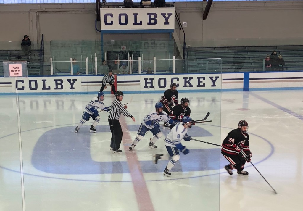 The Colby College and Wesleyan University hockey teams get Saturday's game started with the opening face-off in a conference game at Alfond Rink in Waterville.