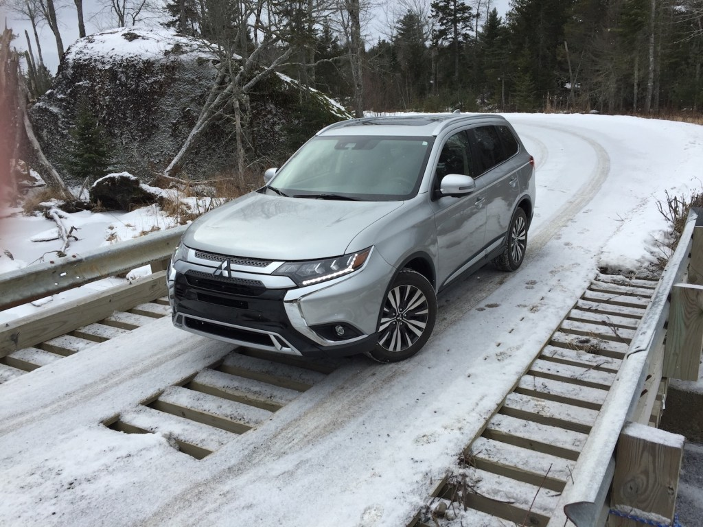 The Mitsubishi Outlander in top SEL trim ($33,225). Photo by Tim Plouff. Location: Green Lake Road, Ellsworth.