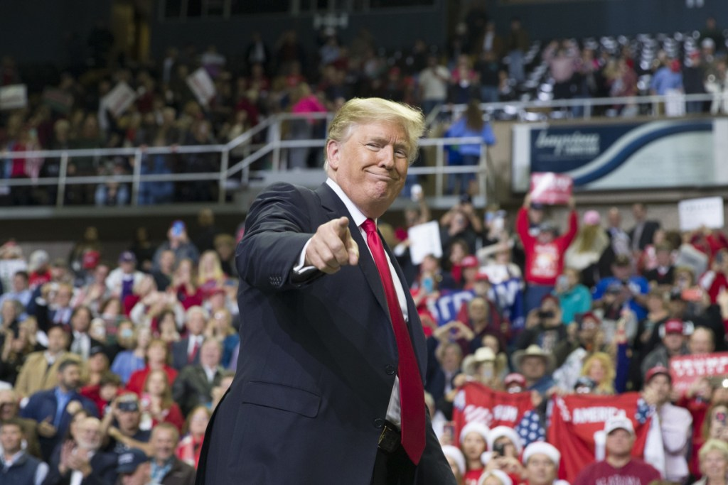 President Trump points to a supporter as he departs a rally at the Mississippi Coast Coliseum in Biloxi, Miss. in November of 2018. Trump's campaign has launched a state-by-state effort to prevent an intraparty fight that could spill over into the general-election campaign. The initiative includes changing state party rules, crowding out potential rivals and quelling any early signs of opposition.