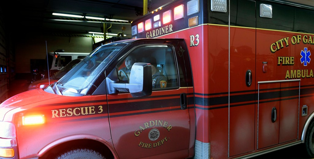 An ambulance from the Gardiner Fire Department responds to a call at the station Feb. 7 in Gardiner.