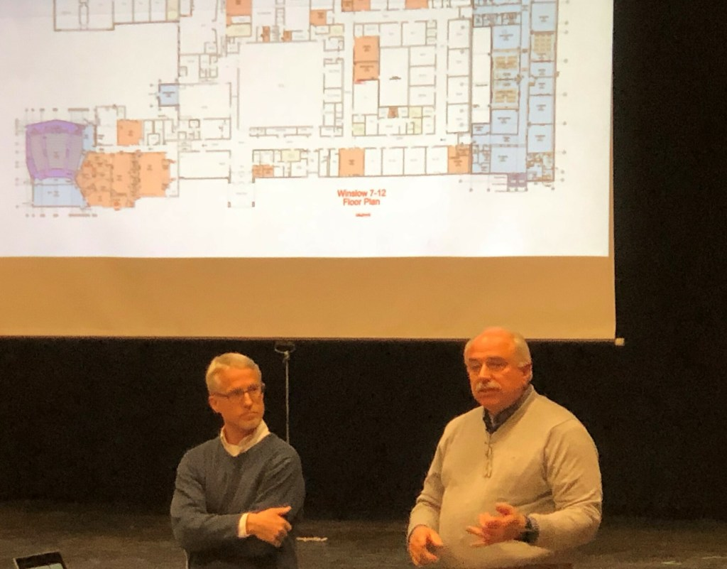 On Tuesday night, architect Doug Breer, left, and construction manager Peter Pelletier show plans for the Winslow school renovation plan that could reduce the project's budget overage.