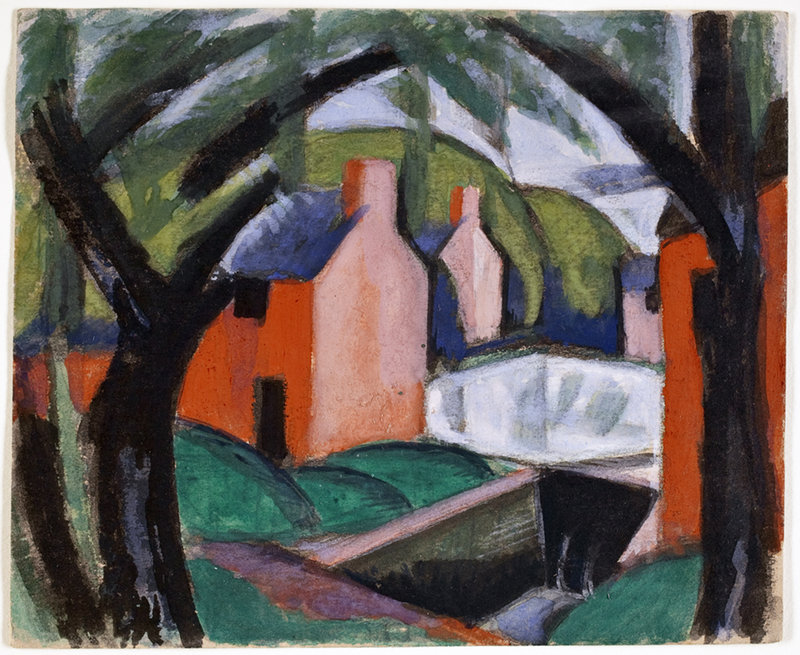 """Oscar Bluemner's """"Landscape with Arched Trees,"""" 1918, gouache."""