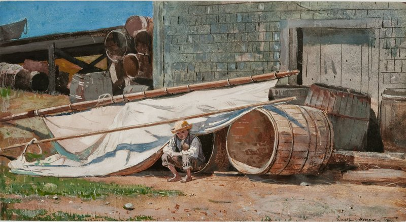 "Homer's ""Boy in a Boatyard,"" 1873, gouache and graphite on paper, at the Portland Museum of Art."