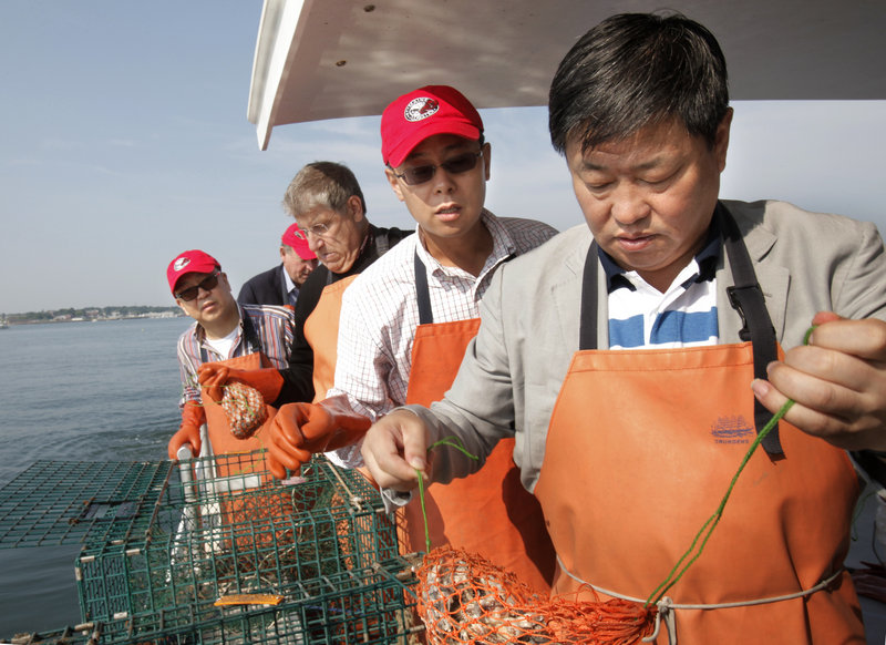 "Ning Gaoning, right, pulls a bait bag from a lobster trap Friday aboard the Lucky Catch in Portland Harbor. With Ning are, from left, Fang Fenglei, Eliot Cutler and Guy Cui. Cutler, an independent candidate for governor, says he wants the Chinese business leaders ""to understand Maine lobster is better than Australia and New Zealand lobster"" and that ""we produce enough to export to China."""