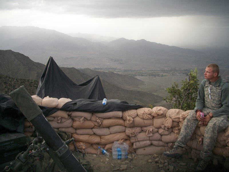 "Maine Army National Guard Spc. Joshua Hager of Corinth describes this photo of himself at his post in Afghanistan as ""majestic."""
