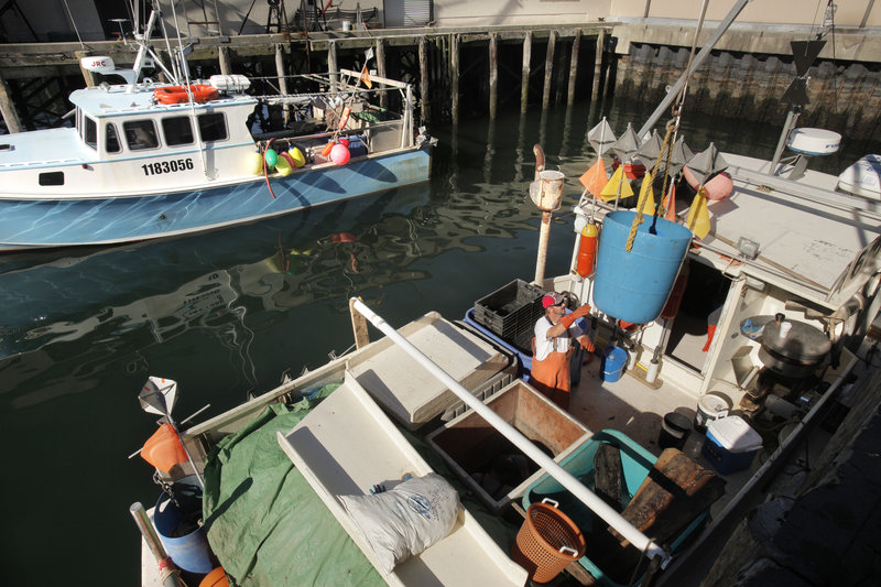 Rob Boynton of Damariscotta offloads fish Thursday at the Portland Fish Pier. The Coast Guard says about 10 percent of Maine's 7,000-vessel commercial fishing fleet gets annual safety inspections.