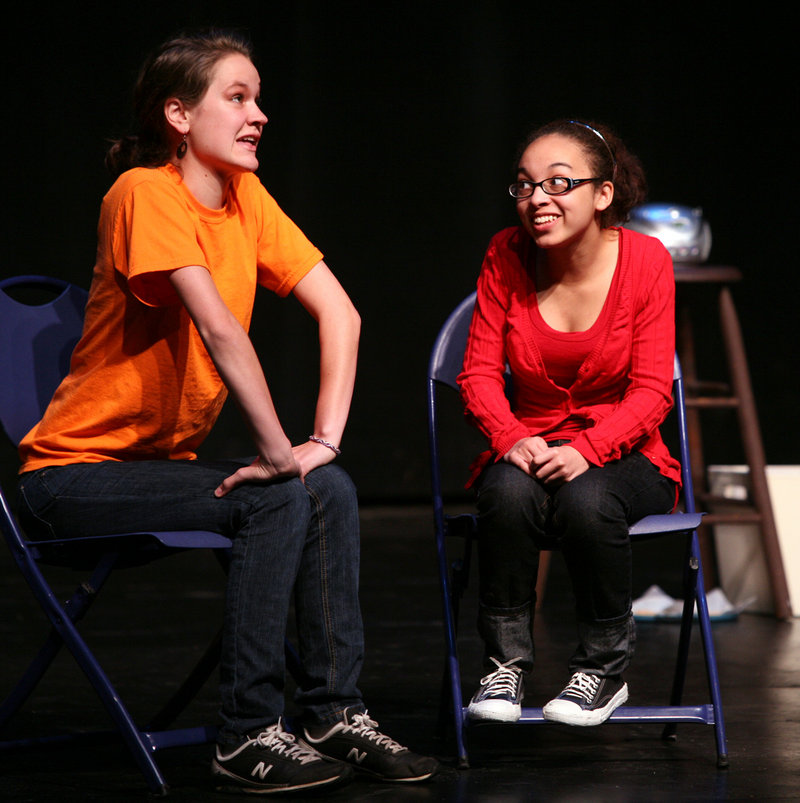 """Hillary Perry, left, and Angelica Phipps perform a piece titled """"I'm Not Gay, But Thank You"""" during the Out & Allied Project at USM's Russell Hall in Gorham."""