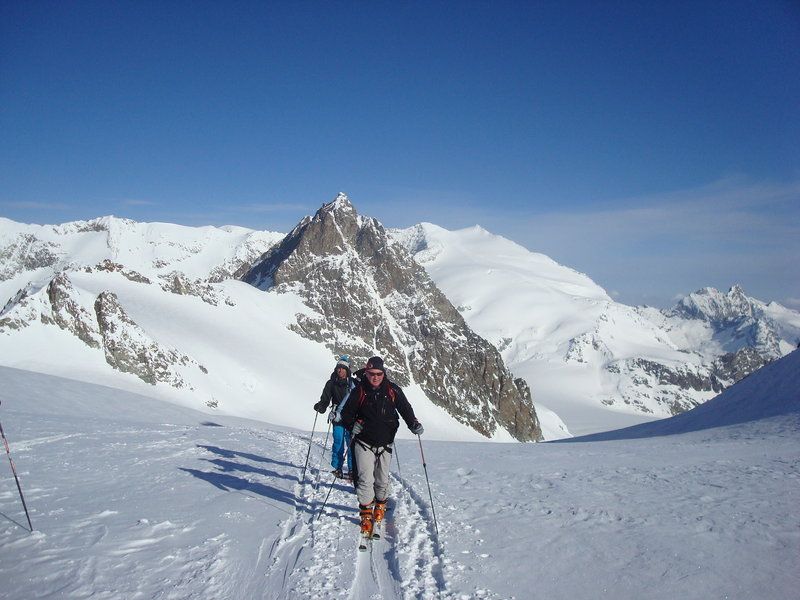 Warren Cook skis in Switzerland last spring with Sam Witherspoon while on an Alpine touring trek.