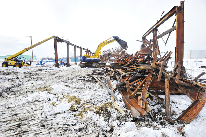Demolition work at the former shipbuilding site in South Portland was expected to continue for a week.