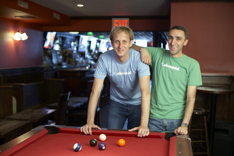 South Portland native Chris Coyne, left, hangs out in 2008 with Sam Yagan, one of the other founders of an online dating site.