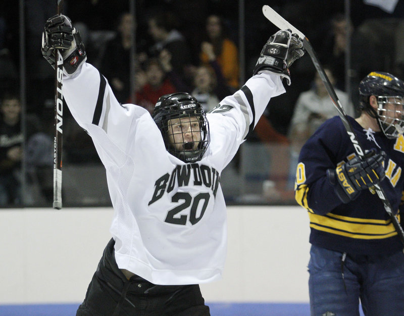 Bryan Rosata celebrates his first career goal, and he couldn't have picked a better time to score it: during a 2-1 win over Neumann University in the first round of the NCAA Division III men's hockey tournament.