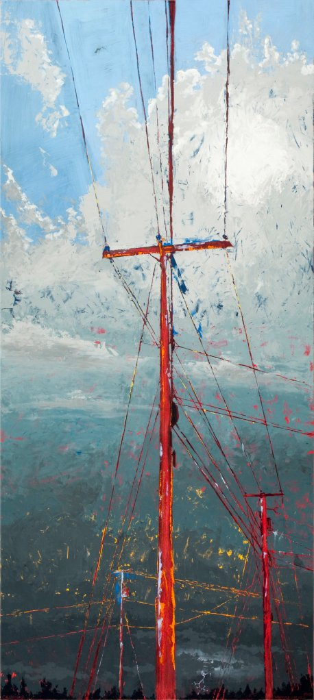 """""""Calvary #2,"""" oil and wax on collaged panel by Marissa Girard."""