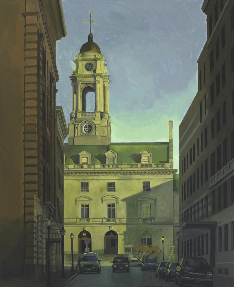 """Thomas Connelly's """"City Hall,"""" oil on panel, is one of the artist's Portland scenes."""