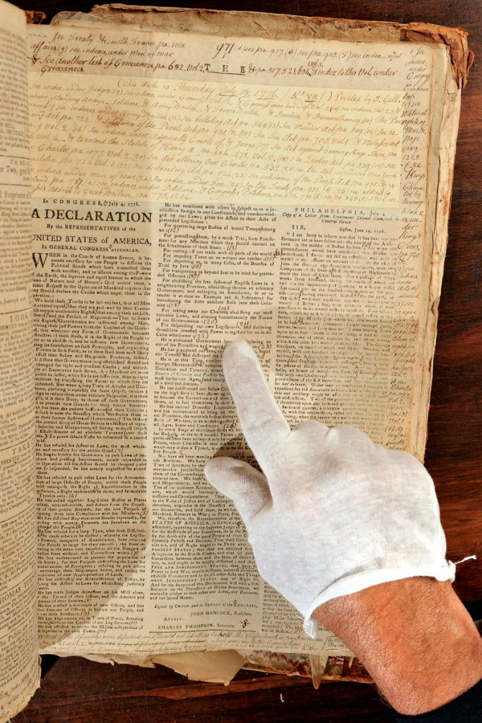 Boston shopkeeper Harbottle Dorr's newspapers include a July 18, 1776, copy of the Boston Gazette, which reprinted the entire Declaration of Independence on its front page. It will be among 3,280 pages of newspapers-turned-diaries that will be auctioned Aug. 25 in Fairfield.