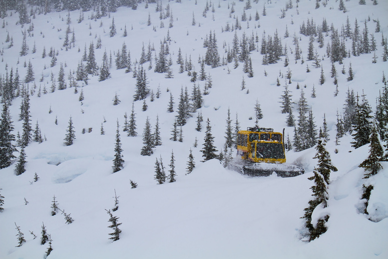 A snow cat takes skiers to Enchanted Forest, Chatter Creek.
