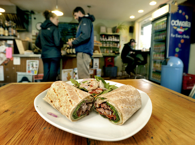 A hanger steak wrap and spinach salad at Cafe Ohno in Portland.