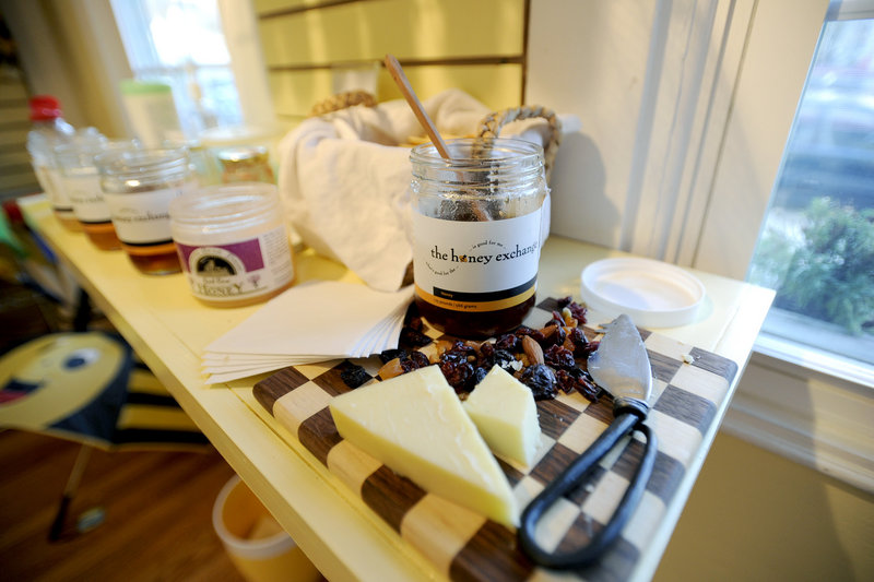 At the honey bar, customers can sample some of the many varieties for sale at the store.