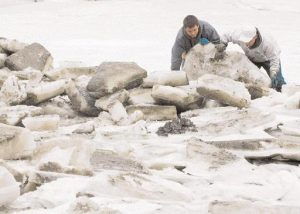 FEB. 16, 2011: Nate Reno, left, and David Wilson Jr. flip chainsaw-cut chunks of ice out of the way, exposing the rich clam flats below. Local diggers hired the pair to help clear the way for harvesting in Quahog Bay in Harpswell.