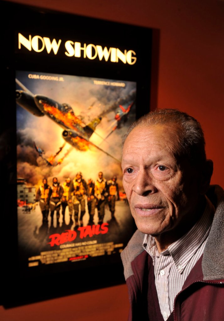 """James Sheppard of South Portland, one of the Tuskegee Airmen, went to see """"Red Tails,"""" a fictionalized account of his all-black fighter group's heroics and the racism they faced, as the film opened on Friday at the Cinemagic Grand at Clarks Pond in South Portland."""