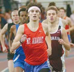 MT. ARARAT'S Andy Reifman-Packett leads a pack of runners in the mile run during the State Class A Indoor Track and Field Championships held Monday at the University of Southern Maine. The Scarborough boys and girls each captured team championships. See photos, story on B1.